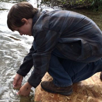 releasing sturgeon into muskegon river